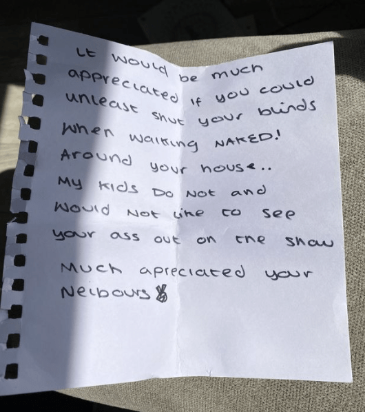 Mum receives note from neighbour telling her to shut her blinds because they can see her in the nude from their house