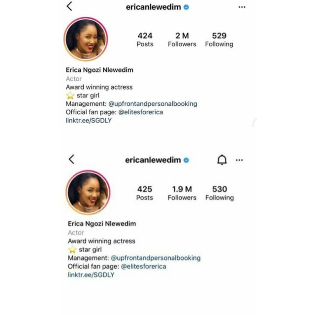 Reality TV star, Erica Nlewedim, reacts after some persons