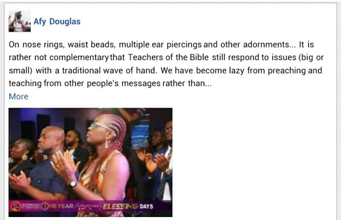 Nose rings, waist beads, multiple ear piercings represent witchcraft and unnatural sexual orientation  - Nigerian Gospel artiste, Pastor Afy Douglas