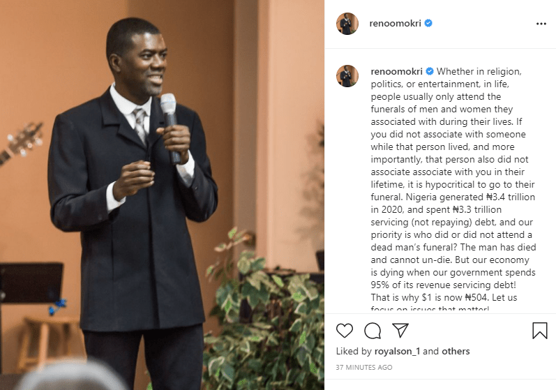 TB Joshua: Our economy is dying and our priority is who did or did not attend a dead man's funeral?- Reno Omokri
