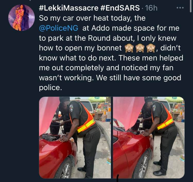 Lady narrates how police officers helped her after her car broke down in Lagos