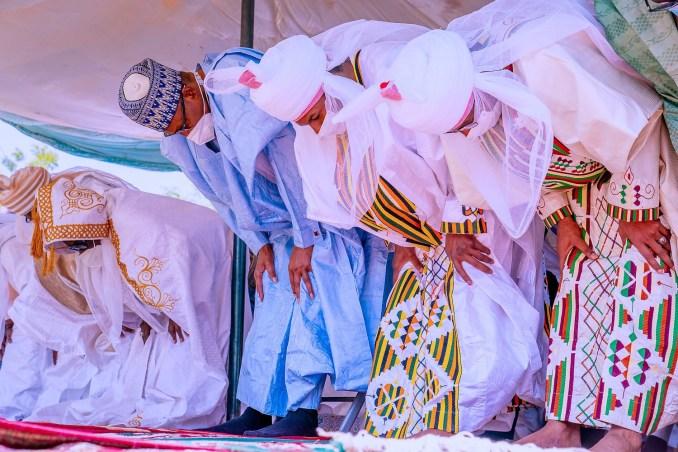 Eid Mubarak: Daura residents file out to greet President Buhari (photos/Video)