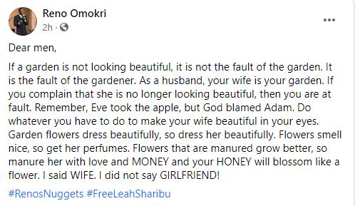 If your wife is no longer beautiful, it?s your fault - Reno Omokri tells men