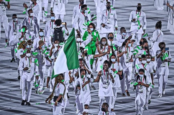 ?Team Nigeria rock stylish green and white outfits for Olympic Ceremony (Photos/Videos)