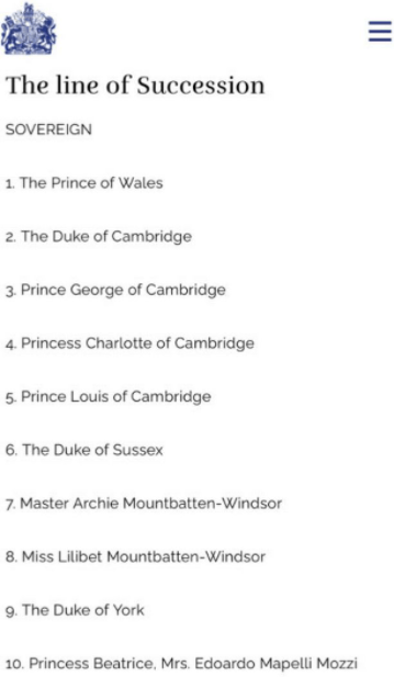 Lilibet Diana Mountbatten-Windsor finally added to Royal Line of succession website