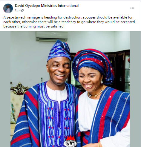 A sex-starved marriage is heading for destruction - Bishop Oyedepo