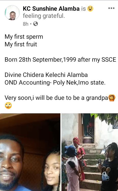 """""""Very soon I will be due to be a grandpa"""" - Young Nigerian man says as he shows off his 22-year-old daughter born after his SSCE"""