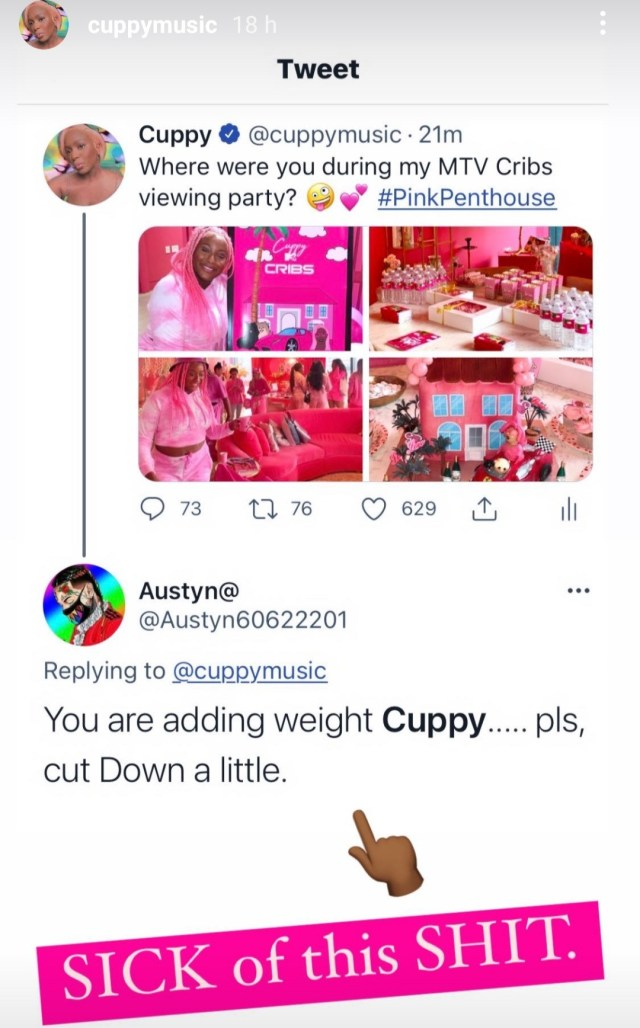 """DJ Cuppy responds to a weight critic who told her to """"cut down a little"""""""