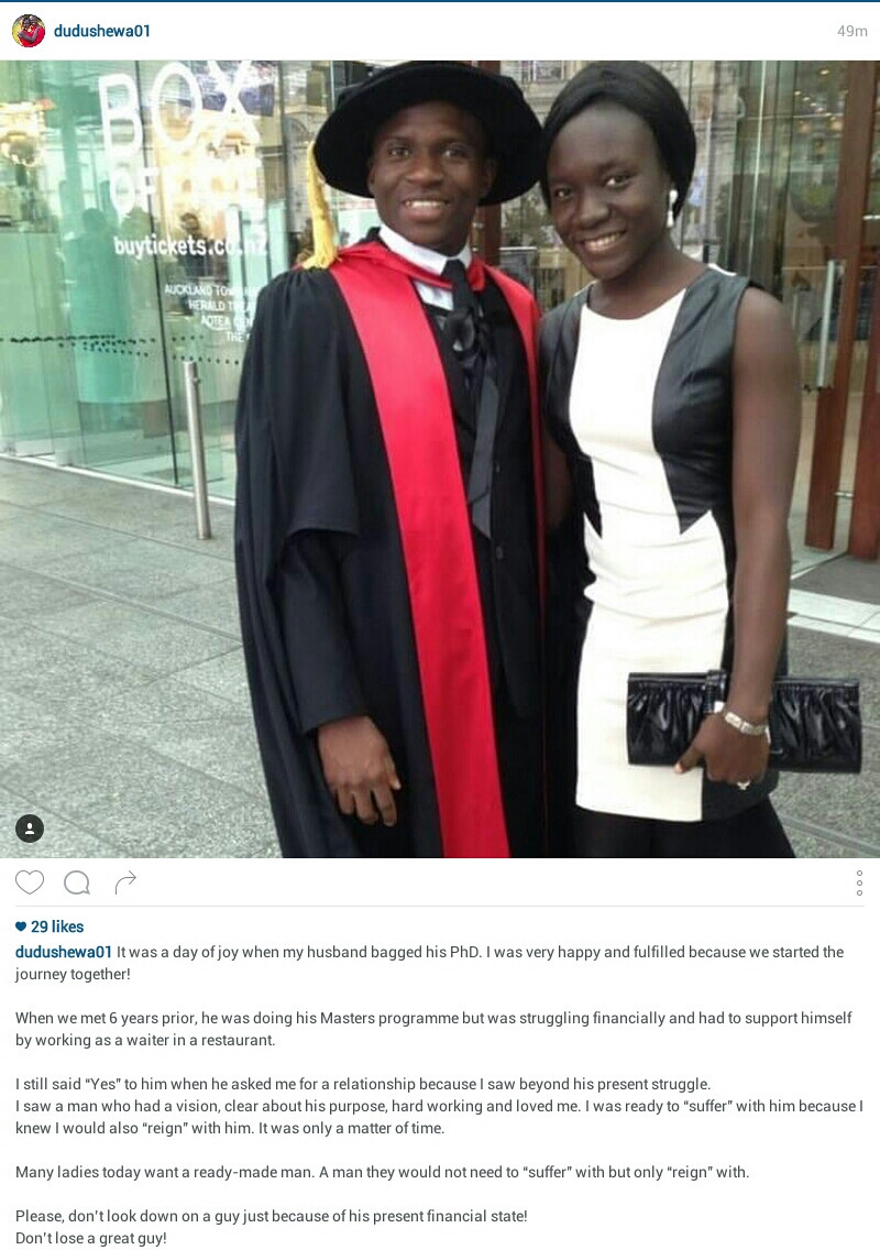 """""""Don?t look down on a guy because of his present financial state"""" - Nigerian woman advises women; says she met her husband while he was working as a waiter"""