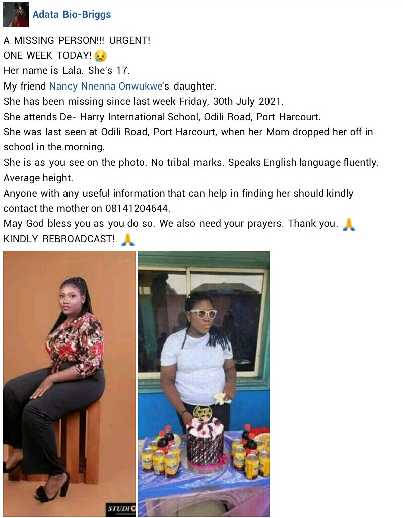 17-year-old girl reportedly missing for one week after her mother dropped her off at school in Port Harcourt