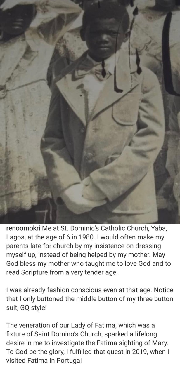 """""""The 1917 visitation by a sprit purporting to be Mary actually happened"""" Reno Omokri says after doing research on the apparition at Fatima"""