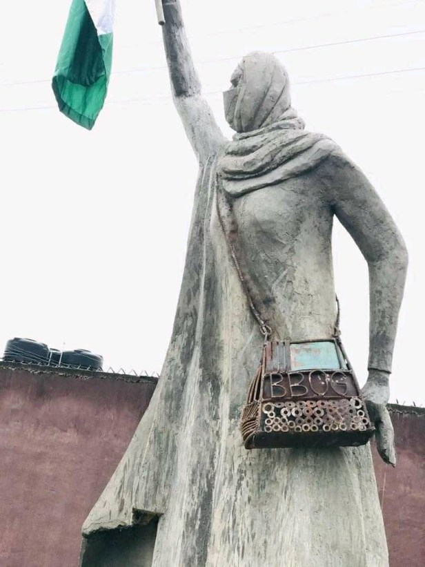 University of Benin final year student builds a sculpture of activist Aisha Yesufu (photos)