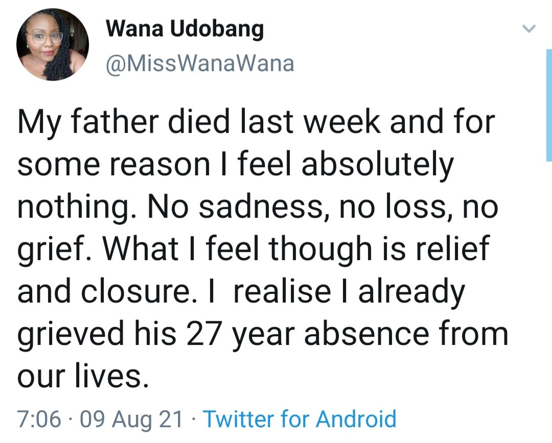 """""""My father died and what I feel is relief"""" Media personality Wana Udobang announces her father's passing"""