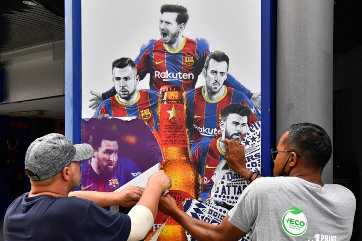 Lionel Messi's image removed from Mural at Barcelona Stadium as he prepares to join PSG (Photos)