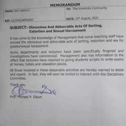 """""""Lecturers are giving students scripts to write exams at homes, hotels and relaxation places"""" - UNICAL"""