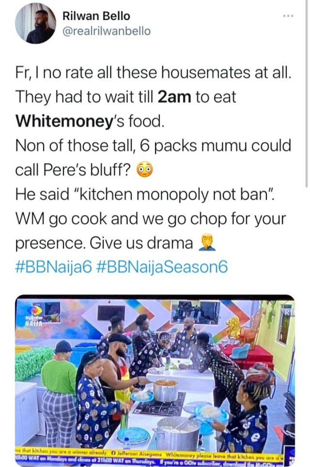 #BBNaija: Nigerians react as White Money flouts Pere?s order and cooks for himself as other housemates join him to eat the food (video)
