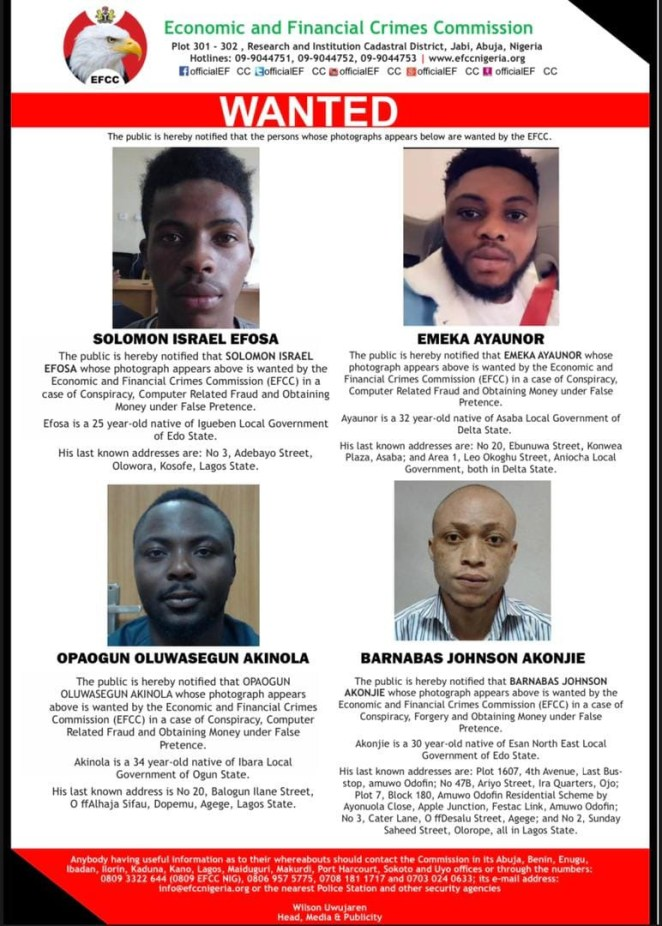 EFCC declares four men wanted for alleged computer-related fraud (photos)