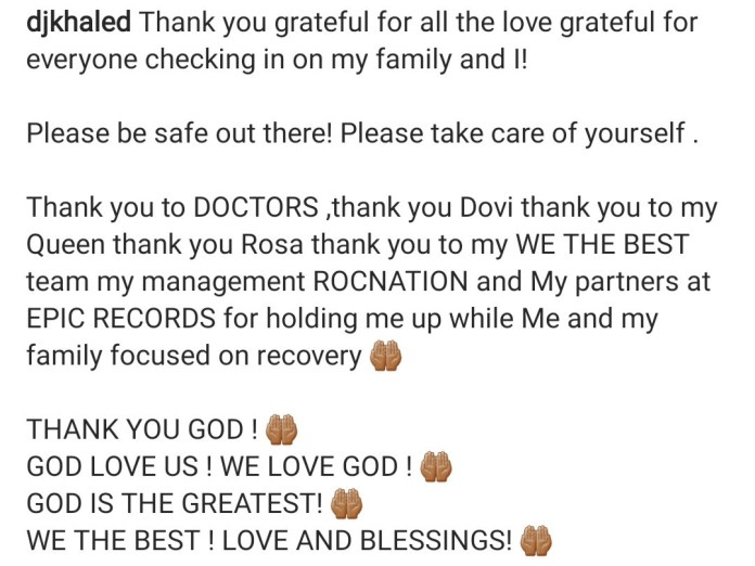 DJ Khaled reveals he and his family just recovered from Covid