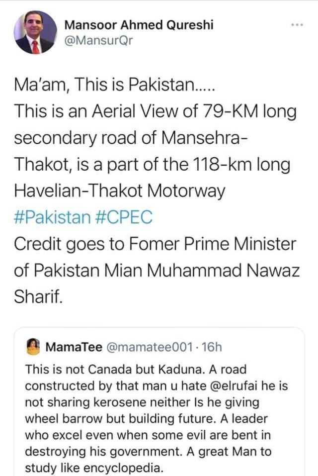 Pakistani journalist calls out Nigerian Twitter user for passing off a Pakistani road as Governor El-Rufai