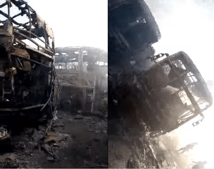Multiple luxururious buses belonging Ifeanyichukwu transport go up in flames after truck rammed into oil tanker and caused a fire (video)