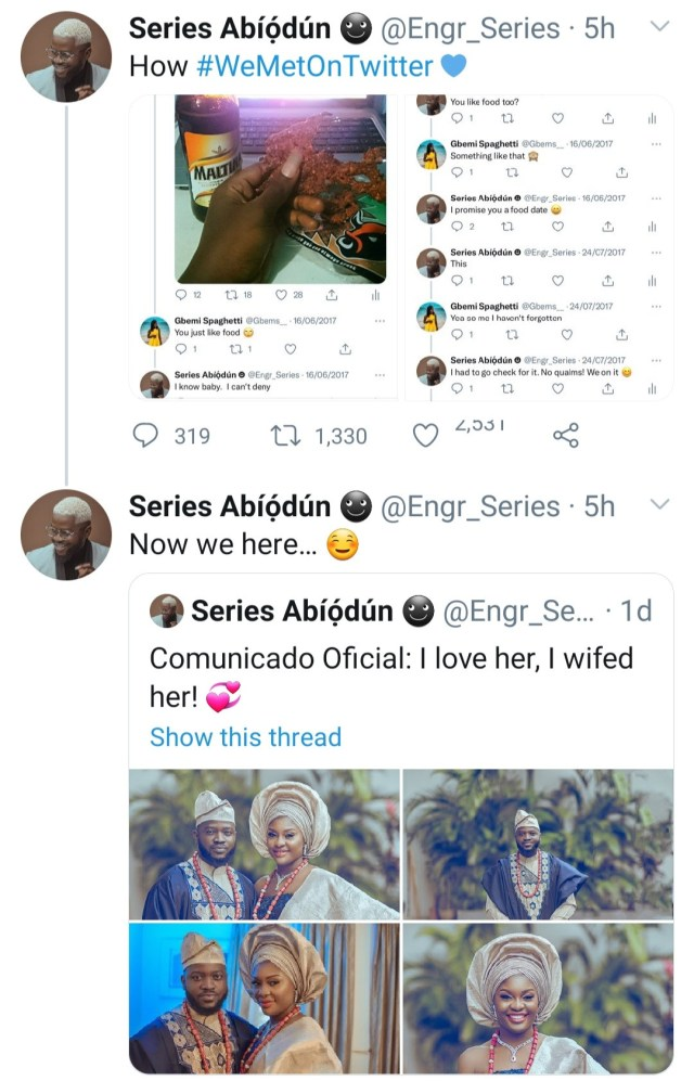Couple wed 4 years after they had a conversation about kilishi on Twitter
