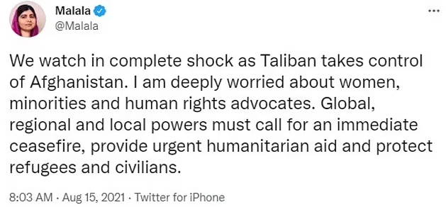 Activist Malala Yousafzai, who was shot in the face by the Taliban, says she fears Afghan women