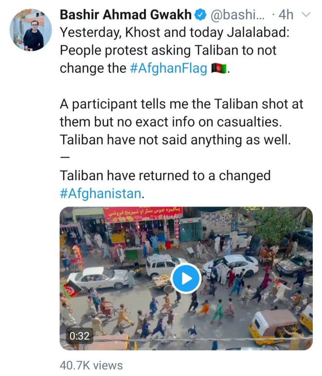 2 killed, 8 injured as Afghans protest against Taliban rule and replace Taliban flag with Afghanistan flag in Jalalabad (video)