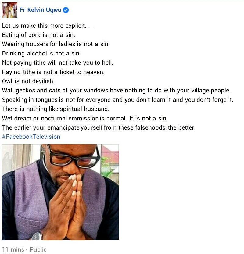 """""""Wearing trousers for ladies is not a sin. Paying tithe is not a ticket to heaven"""" - Nigerian Catholic priest advises people to emancipate themselves from falsehoods"""