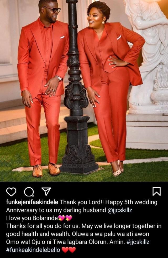 Funke Akindele-Bello and hubby JJC Skillz celebrate 5th wedding anniversary with lovely photos
