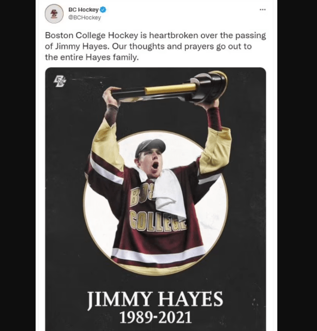 Former Boston Bruins NHL star, Jimmy Hayes dies suddenly at home hours after celebrating his son