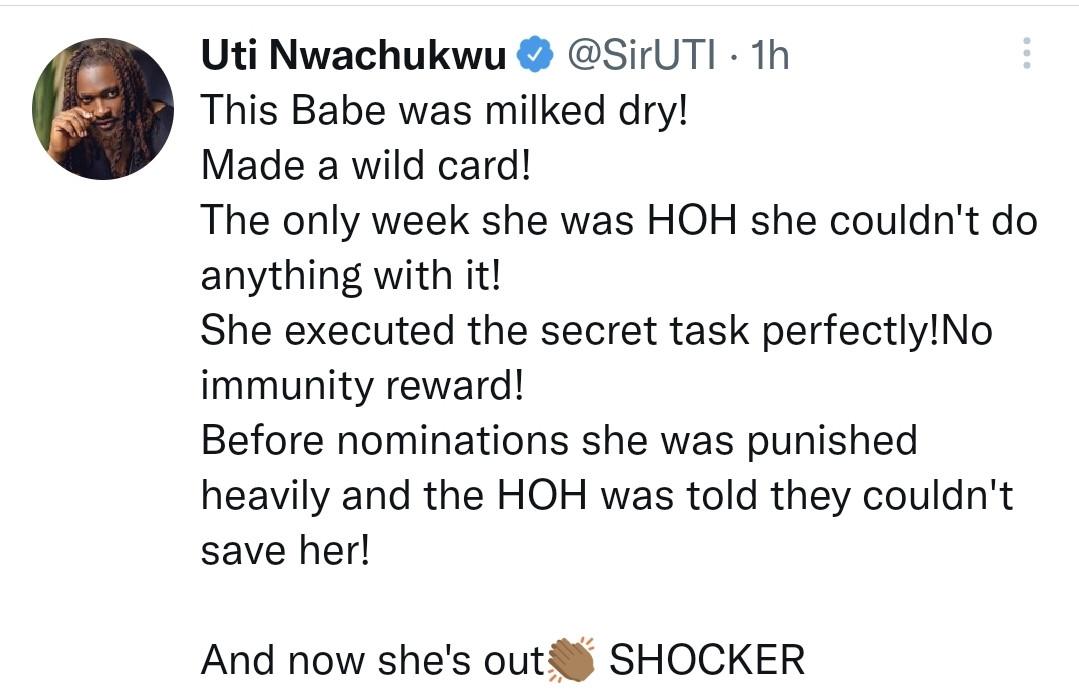 #BBNaija: She was milked dry, executed the secret card perfectly yet no immunity reward' - Uti Nwachukwu speaks on Maria's shocking eviction from Big Brother Naija show