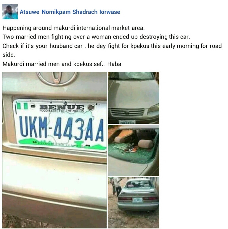 Two married men allegedly fight in public over a woman in Benue, destroy car