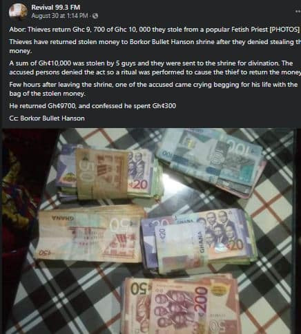 Thieves return money they stole after their victim reported the incident to a native doctor
