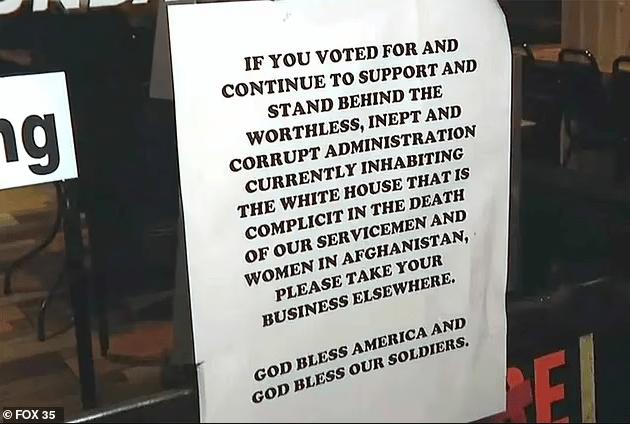 Florida restaurant owner posts sign asking Biden supporters not to enter