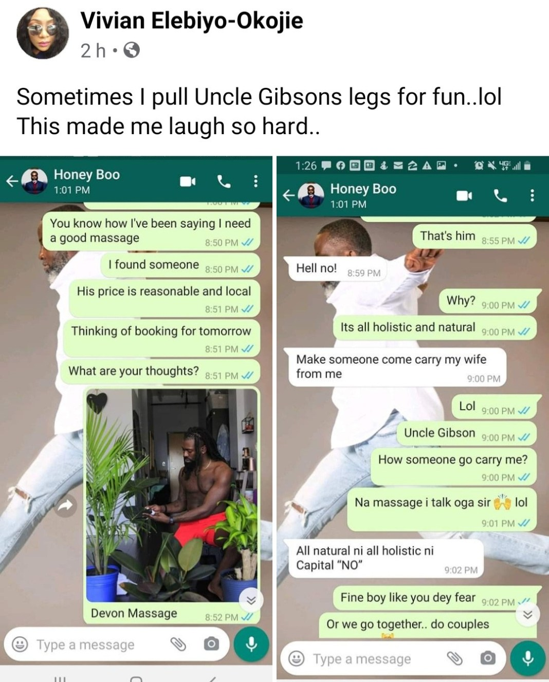 Businesswoman shares hilarious response her husband gave when she showed him the ripped masseuse she plans to visit for massage
