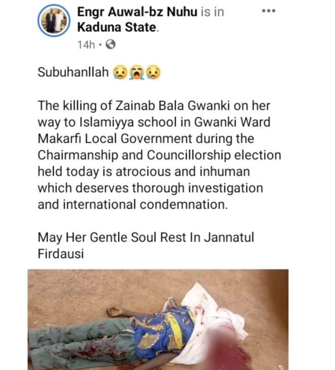 Kaduna LG election: Stray bullet allegedly kills 9-year-old girl on her way to Islamic school (Graphic photo)
