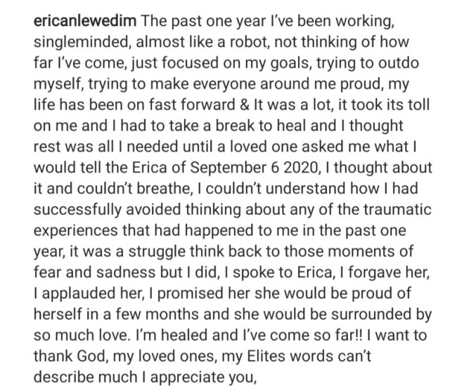 Erica Nlewedim speaks on the one-year anniversary of the day she was disqualified from the Big Brother Naija house