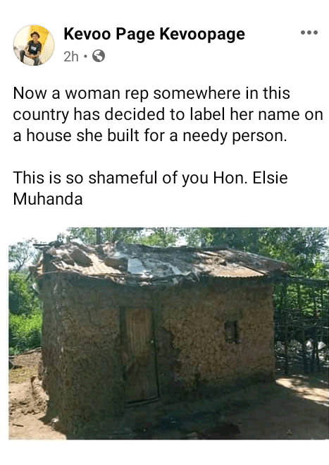 Kenyan lawmaker under fire for branding her name on house she built for a needy person