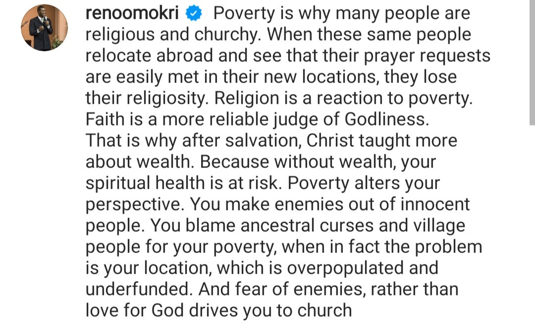 Poverty is why many people are religious and churchy - Reno Omokri