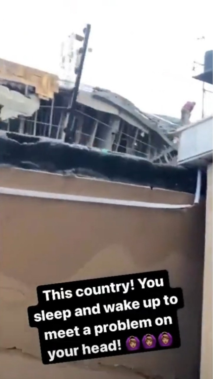 Homeowner laments as building under construction collapses into his property, breaking his fence and BQ (video)