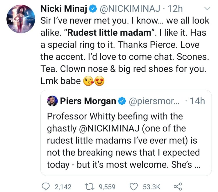 Piers Morgan and Nicki Minaj fire shots at each other after the TV host claimed she snubbed his sons in 2011
