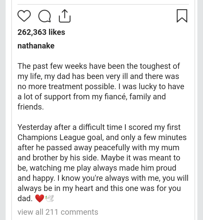 Manchester City defender Nathan Ake reveals his father died moments after he scored his first Champions League goal