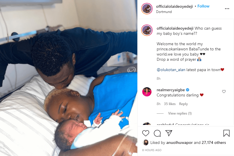 Actress Olaide Oyedeji and husband welcome a child in Germany