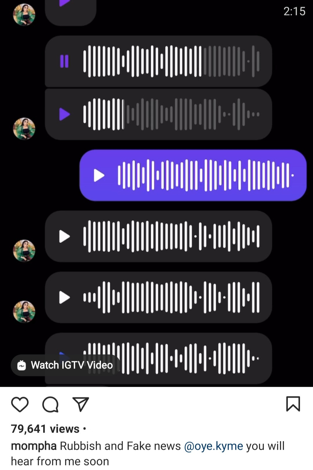 Voicenotes of Mompha and Bobrisky trading words following allegations that they dated