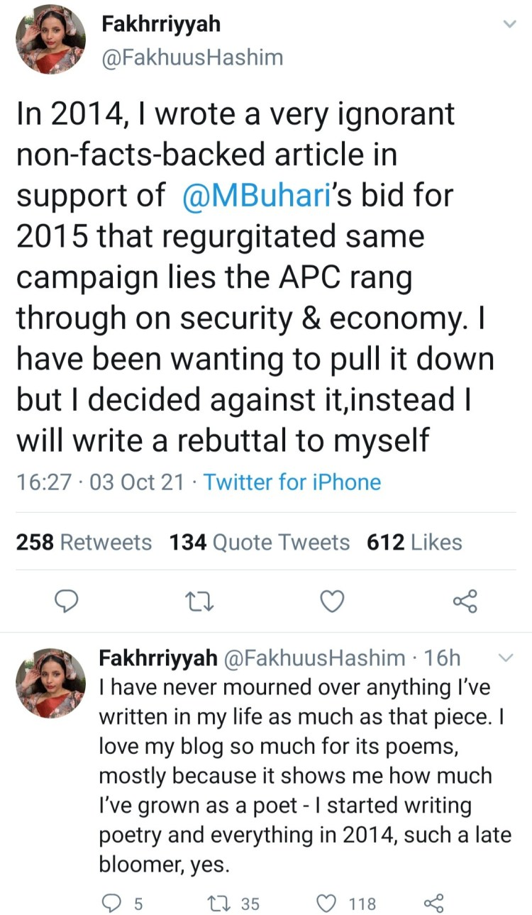 Poet, Fakhrriyyah Hashim, says she now regrets article she wrote to support Buhari