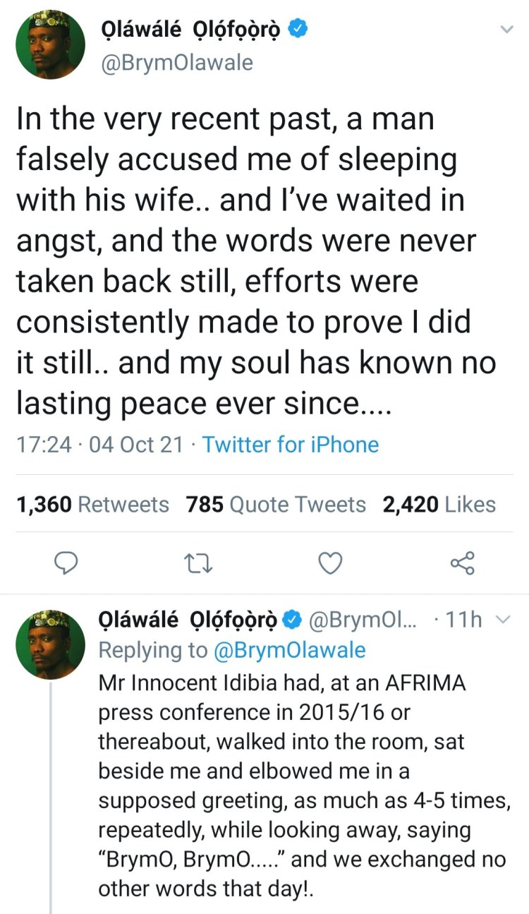Brymo claims Tuface Idibia accused him of sleeping with his wife