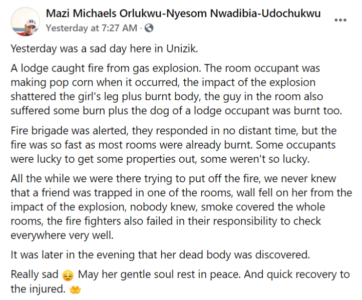 Video captures moment a gas explosion occurred while a UNIZIK student was on Facebook live (video)