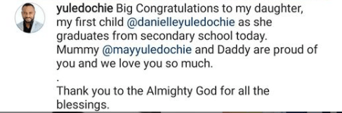 Actor Yul Edochie celebrates his daughter as she graduates from secondary school