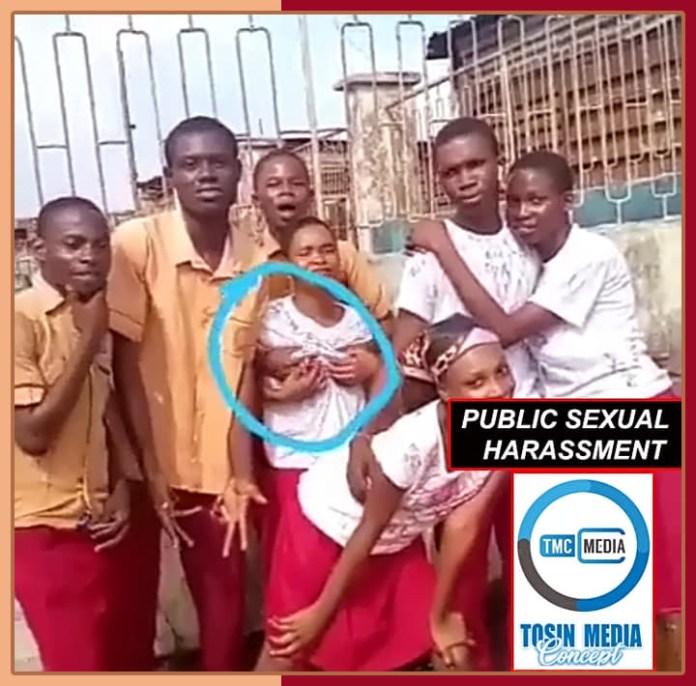 Secondary school student grabs his female classmate