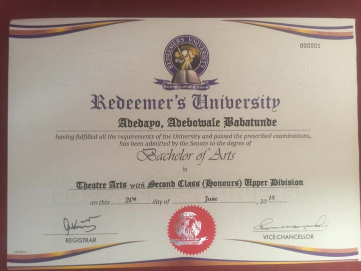 Comedian Mr Macaroni reacts to rumour of not graduating from the university by producing his certificate